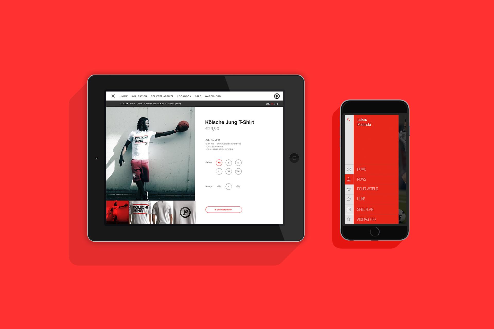 Projekt Lukas Podolski App und Online Shop - Jan-Philipp Alker - Designer - Südsolutions